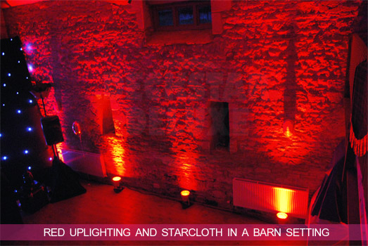 Cheltenham Wedding DJ - Red LED lighting and starcloth hire