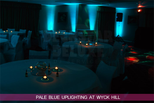 Pale Blue Uplighting for a Wyck Hill Wedding by Cheltenham Wedding DJ